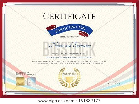 Certificate template for achievement appreciation or participation in colorful award ribbon theme with swirl background