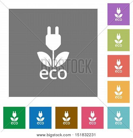 Eco energy flat icon set on color square background.