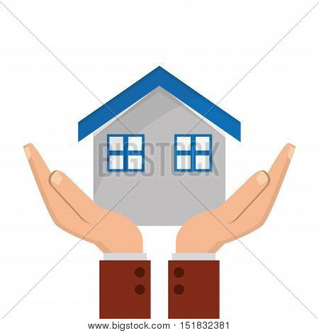 flat design house and sheltering hands icon vector illustration