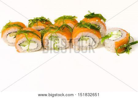 tasty rolls with seaweed close up isolated