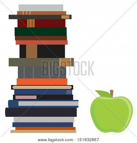 Book Stack And Apple