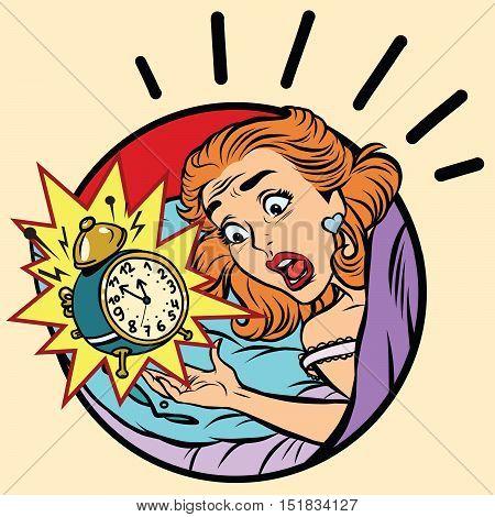 Comic girl woke up from the alarm, pop art comic illustration