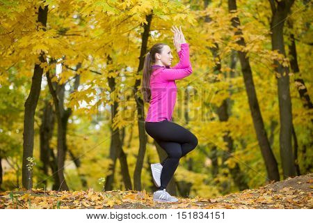 Sporty beautiful smiling young woman practicing yoga, standing in Eagle Pose, Garudasana, working out outdoors in autumn park wearing bright sportswear. Full length, side view