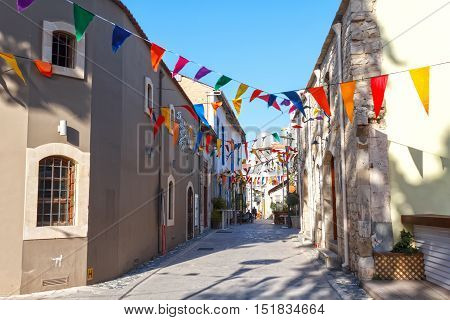 Street of the old town during the festival, Limassol, Cyprus