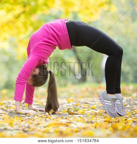 Sporty beautiful young woman practicing yoga, doing Bridge Pose, standing in Urdhva Dhanurasana Upward Bow , Chakrasana Wheel , working out outdoor on autumn day wearing sportswear. Full length