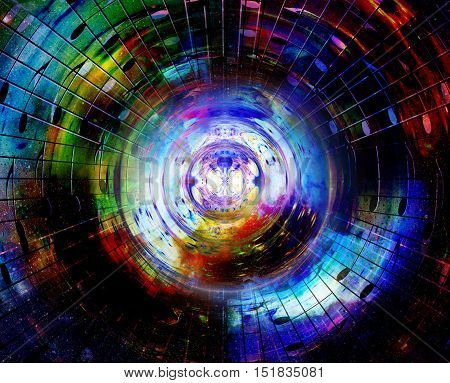 Audio music speaker in space. Cosmic space and stars, abstract cosmic background, space music, music concept