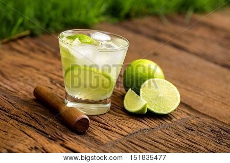Lemon Fruit Caipirinha Of Brazil On Wooden Background