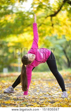 Sporty beautiful young woman practicing yoga, standing in variation of Utthita Trikonasana posture, Extended Triangle pose, working out outdoors in park on autumn day. Full length