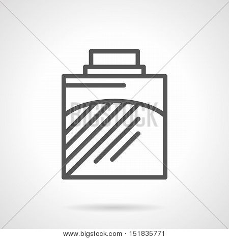 Container of cologne. Mens perfume symbol. Elegant bottle of smell spray. Perfumery shop of male cosmetic and body care. Black simple line style vector icon.