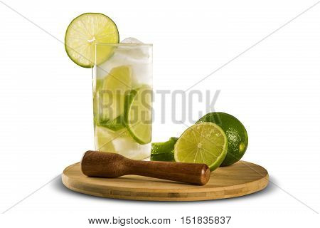 Lemon Fruit Caipirinha Of Brazil On White Background