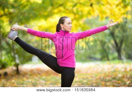 Portrait of sporty beautiful happy young woman practicing yoga, standing in Utthita Hasta Padangustasana, Extended Hand to Big Toe pose, working out outdoor on autumn day wearing sportswear sweatshirt