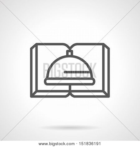 Symbol for cooking literature. Open book with cloche sign. Educational and hobby elements. E-library, bookstore, menu for cafe and restaurants. Simple black line style vector icon.