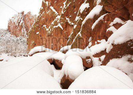 Snow at The Garden of the Gods in Colorado Springs Colorado