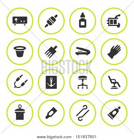 Set round icons of tattoo equipment isolated on white. Vector illustration