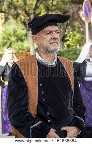 SELARGIUS, ITALY - September 8, 2013: Former marriage Selargino - Sardinia - portrait of a man of the folk group pro-loco of Paulilatino