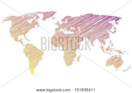 Colorful world map on a white background. Vector illustration