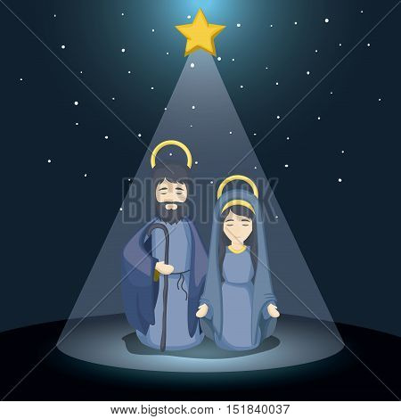 joseph and mary cartoon icon. Holy family and merry christmas season theme. Colorful design. Vector illustration