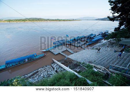 CHIANG RAI THAILAND - OCTOBER 142016 - Port of Chiang SaenLocated in inside city wall near by Khong riverborder of Thailand Laos and Burmar.
