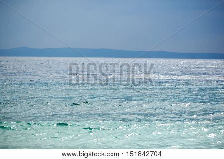 twilight clear dark blue sky over ocean or sea water horizon on evening seascape on natural background