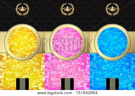Set of Wine labels with color bright foil texture background and abstract design elements