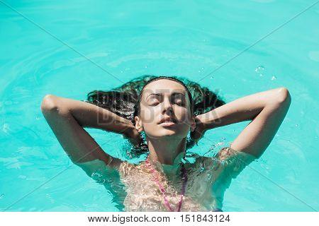 Pretty Sexy Woman In Swimming Pool