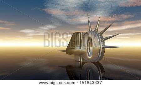 number fourty with prickles under cloudy sky - 3d illustration