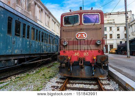 Trieste March 2016, Italy: Electric locomotive in Railroad Museum (Museo Ferroviario di Trieste)