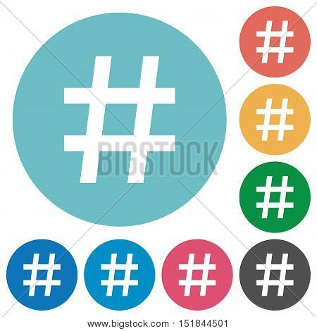 Flat hash tag icon set on round color background.