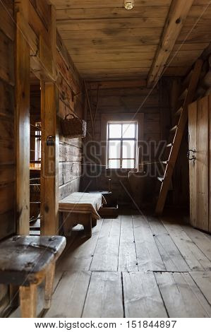 interior of the Russian hut made of logs