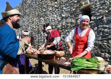 DROBETA ROMANIA - 10.09.2016: medieval festival people cooking ancient style