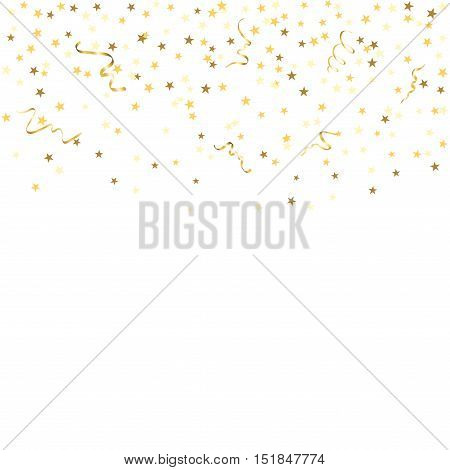 Gold star confetti celebration isolated on white background. Falling golden abstract decoration for party birthday celebrate anniversary or event festive. Festival decor. Vector illustration