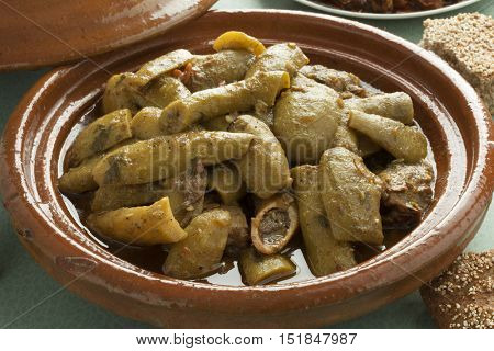 Traditional Moroccan tagine with beef and  bottle gourds close up