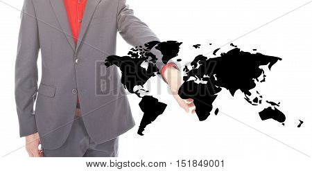 Young businessman with black world map on white background
