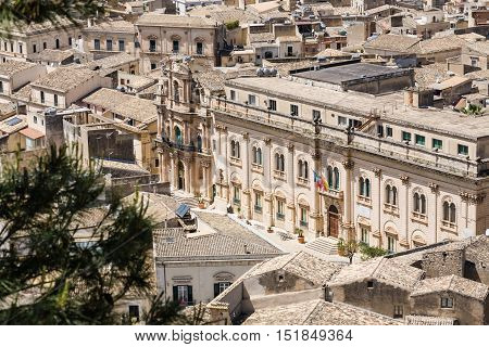 The town hall of the baroque city of Scicli seen from above in southern Sicily Italy
