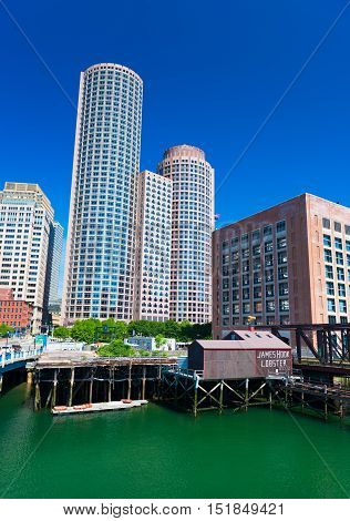 Boston MA - June 2016, USA: Boston Harbor International Place Skyscraper US Coast Guard building and James Hook Lobster House