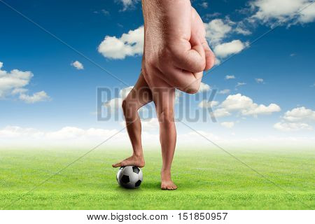 Male hand with a ball