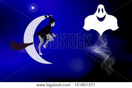 Vector illustration of a witch on a broom and flying ghosts lit bright moon came the holiday Halloween