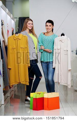 Happy women shopping
