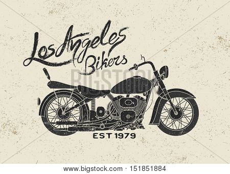Vintage label with motorcycle.Grunge effect. Print design