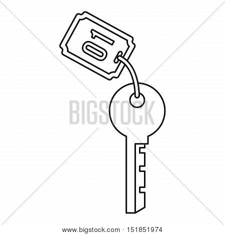 Hotel room key icon. Outline illustration of hotel room key vector icon for web
