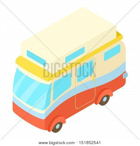 Traveling camper van icon. Isometric 3d illustration of camper van vector icon for web
