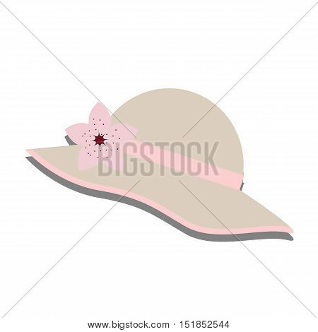 women summer beautiful hat with flower. Template for jewelry store or clearance sale. Vector illustration