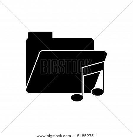 Music note and file icon. Sound melody pentagram and musical theme. Isolated design. Vector illustration