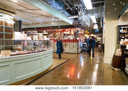 CHICAGO, IL - 31 MARCH, 2016: inside The Chicago French Market. The Chicago French Market is indoor market located in the West Loop of Chicago.