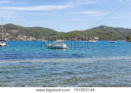 Yacht in the summer in a greek tropical island 2