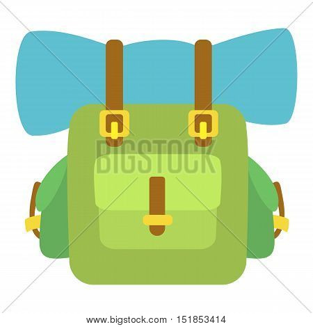 Green backpack icon. Cartoon illustration of backpack vector icon for web