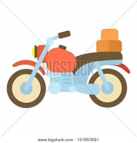 Motorcycle with boxes icon. Cartoon illustration of motorcycle vector icon for web
