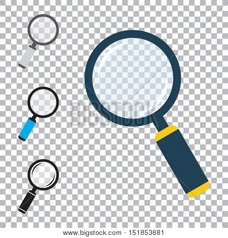 Magnifier flat icons set. Loupe symbols. Magnifying glass with handle. Colored vector eps10 illustration with transparency.