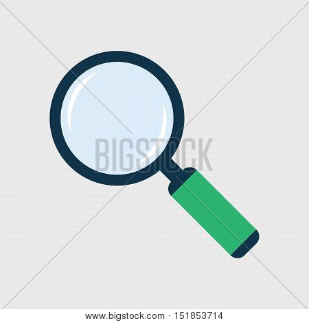 Magnifier flat icon. Loupe symbol. Magnifying glass with handle colored vector eps8 illustration.