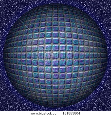 Abstract decorative blue sphere, ball - square 3D pattern